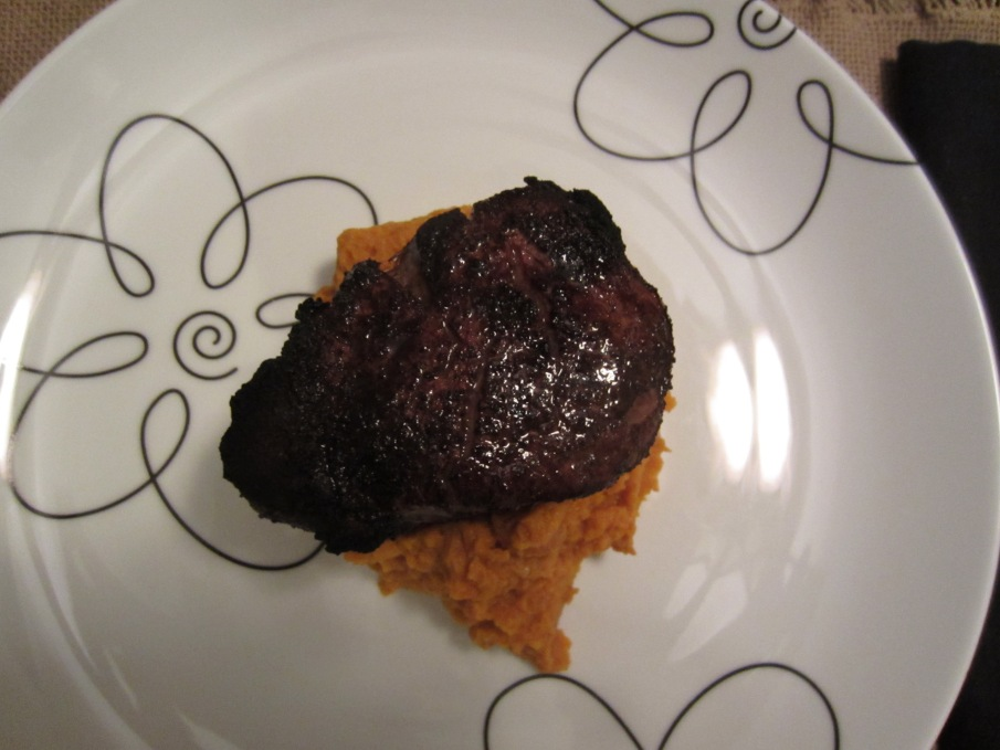 Cocoa-crustedBeef Tenderloin with Carrot puree